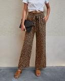 Sommer Lässige Hose mit hoher Taille und hohem Leopardenmuster