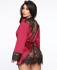Осенняя сексуальная кружевная лоскутная атласная пижама с поясом