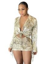 Conjunto de blusa anudada con estampado de fiesta de otoño y minifalda fruncida