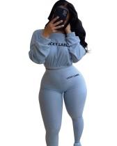 Conjunto de pantalón de cintura alta y top corto de manga larga con estampado de letras