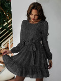 Herbstdruck Romantisches Kurzkleid mit Rundhalsausschnitt und Gürtel
