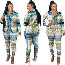 Conjunto de blusa retrô e calça combinando com estampa de outono