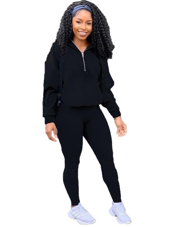 Autumn Casual Black Hoody Trainingsanzug