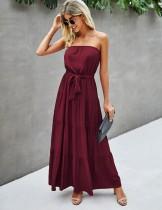 Vestido formal largo sin tirantes liso liso de verano