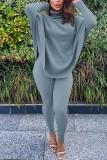 Herbst Turndown Kragen Plain Loose Shirt und enge Hosen Set