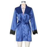 Herbst Sexy Lace Patchwork Satin Robe Pyjama mit Gürtel