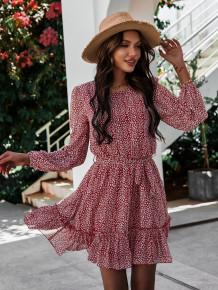 ベルト付き秋のプリントラウンドネックロマンチックなショートドレス