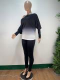 Herbst Casual Gradient Shirt und Hosen Set