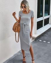 Vestido largo liso liso con abertura lateral y cuello redondo de verano