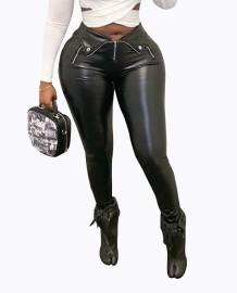 Зимние черные кожаные брюки с высокой талией