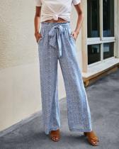 Pantalones anchos azules con estampado de cintura alta casual de verano