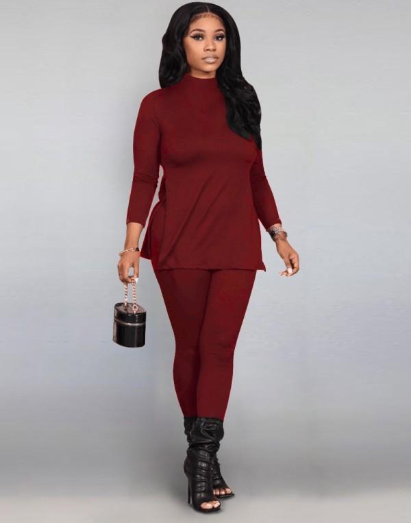 Herbst Casual Solid Plain Slit Hemd und Hosen Set