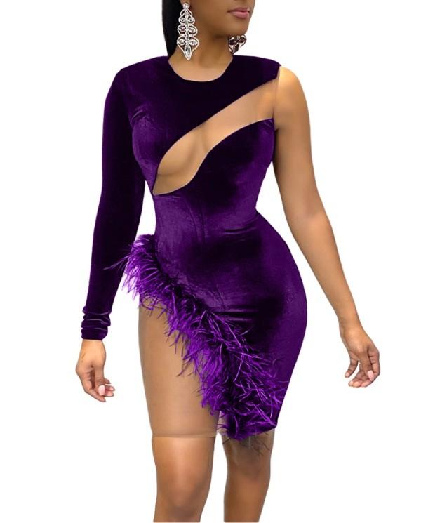 Autumn Sexy Patchwork Velvet Club Dress