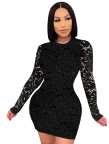 Autumn Party Full Lace O-Ausschnitt Bodycon Kleid