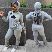 Autumn Poker Print Hoody Top und Stacked Pants Sweatsuit