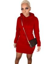Kışlık Uzun Kollu Cepli Sıkı Kalın Kapüşonlu Elbise