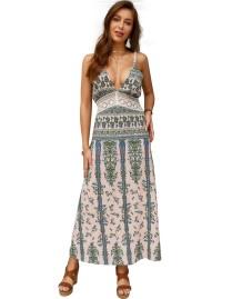 夏のボヘミアンプリントストラップロングドレス