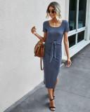 Sommer Solid Plain Seitenschlitz O-Ausschnitt Langes Hemdkleid