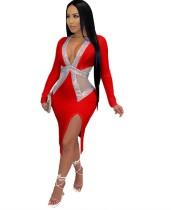 Abito con scollo a V sexy con paillettes da festa rossa primavera