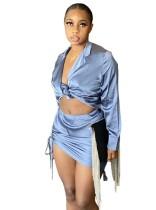 Conjunto de blusa anudada de satén de fiesta de otoño y minifalda fruncida