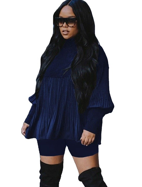 Winter Solid Plain Plissee Loose Shirt und enge Shorts Set
