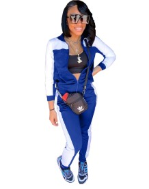 Autumn Contrast Color Zipper Tracksuit