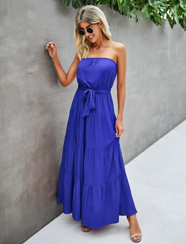 Summer Solid Plain trägerloses langes Abendkleid in A-Linie