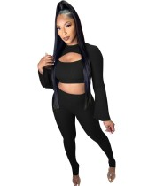 Autumn Party Sexy Ribbed Crop Top and Pants Set