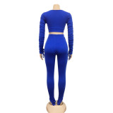 Herbst Party Sexy Plain Wrapped Crop Top und High Waist Pants Set