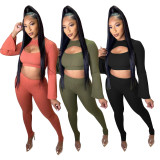 Herbst Party Sexy gerippte Crop Top und Hosen Set