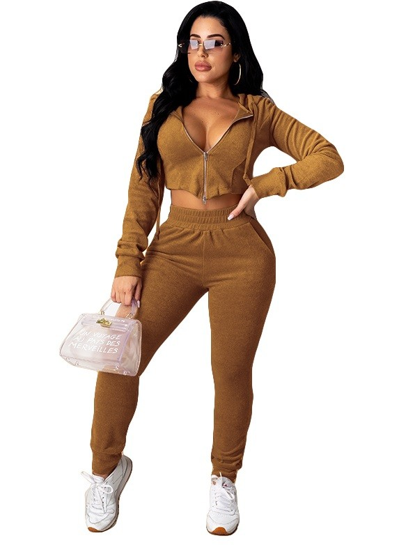 Herbst Casual Solid Plain Zipper Crop Top und Hosen Set