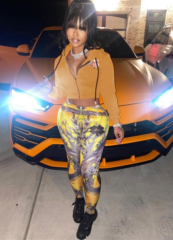 Herbst Casual Print Orange Hoody Jacke und Hosen Set