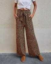 Pantalones anchos de leopardo con estampado de cintura alta casual de verano