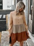 Autumn Casual A-Line Kontrast Kurzes Kleid