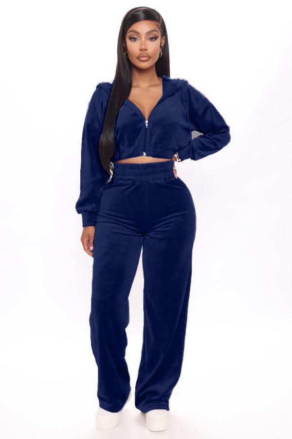 Pure Velvet Crop Top und Hosen Hoodie Trainingsanzug