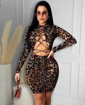 Herbst Party Leopardenmuster Schnüren Minikleid