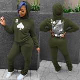 Autumn Poker Print Hoody Top und Stacked Pants Sweatsuit
