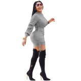 Afircan Solid Long Sleeve Drawstring Knitted Dress