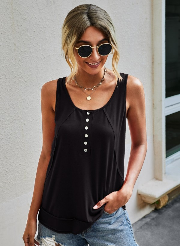 Summer Casual Button Sleeveless Top