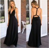 Sexy Deep V-Ausschnitt Rope Cross Back Brautjungfer Abendkleid