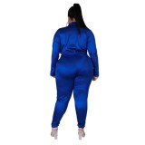 Plus Size Satin Wickel Bodysuit und passende Hose Set
