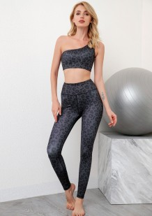 Leopardenmuster One Sholder Crop Tank und Yoga Legging Set