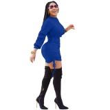 Vestido de malha afircan maciço de manga comprida com cordão