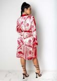 Africa Dollar Print Langer Mantel mit Gürtel