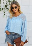 Pure Color Long Slevve Loose Chiffion Blouse