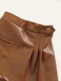 Conjunto de blusa de malha feminina com gola alta e saia Leater