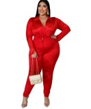 Plus Size Satin Wickel Bodysuit und passende Hose Set