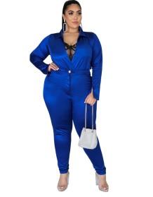 Комплект боди с атласной оберткой и подходящих брюк больших размеров