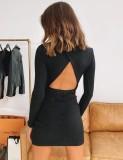 Sexy Solid Midi Neck rückenfreies Langarm-Strickkleid