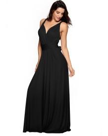 セクシーなディープVネックロープクロスバックブライドメイドイブニングドレス